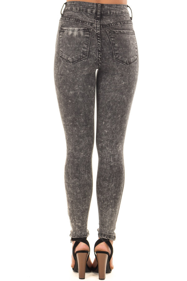Black Acid Wash High Waist Skinny Ankle Jeans back