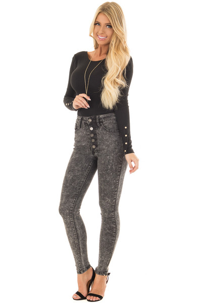 Black Acid Wash High Waist Skinny Ankle Jeans front full body