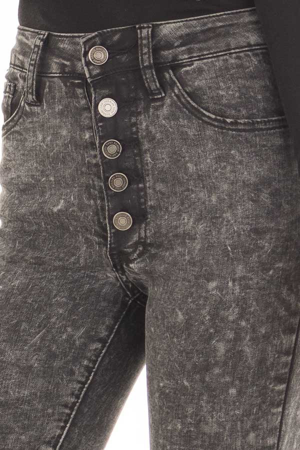 Black Acid Wash High Waist Skinny Ankle Jeans front detail