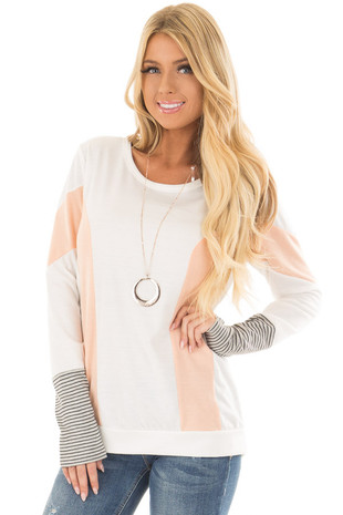 Ivory Top with Peach Stripe Detail front closeup