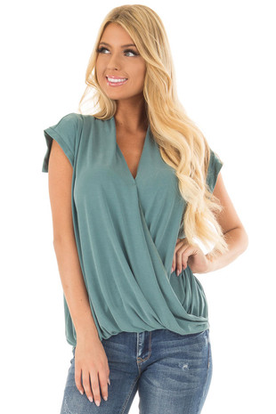 Teal Surplice V Neck Top with Front Twist Detail front closeup