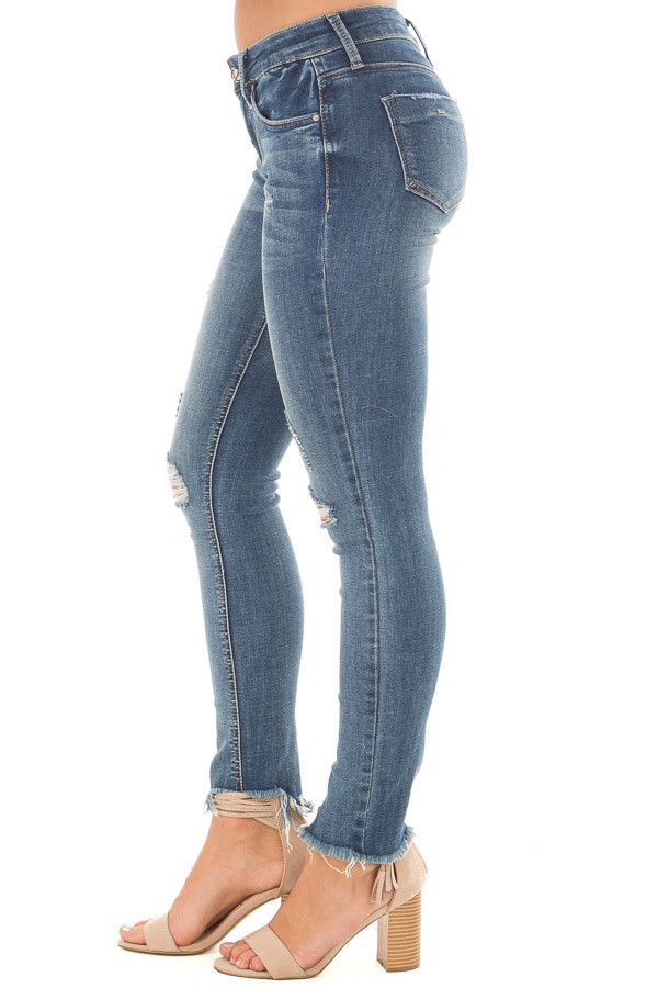 Medium Wash Denim Jeans with Distressed Detail right side