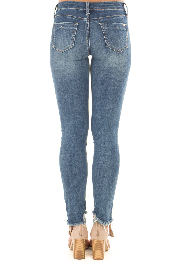 Medium Wash Denim Jeans with Distressed Detail back