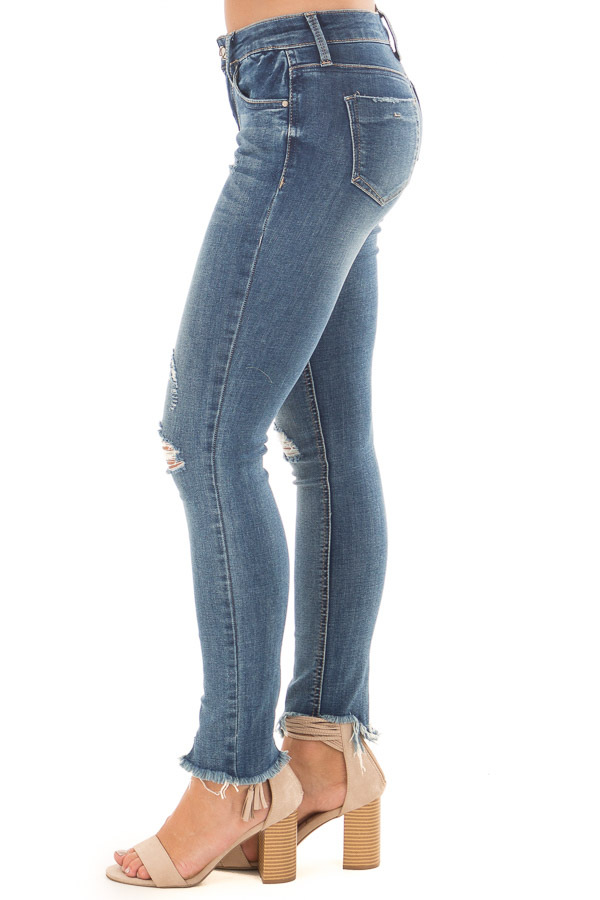 Medium Wash Denim Jeans with Distressed Detail left side