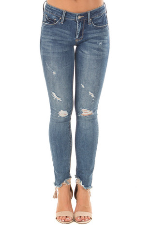 Medium Wash Denim Jeans with Distressed Detail front
