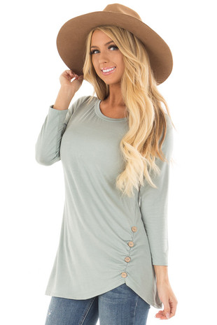 Blue Sage 3/4 Sleeve Top with Gathered Button Detail front closeup