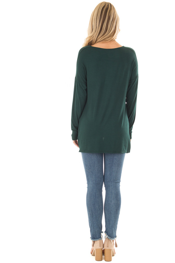 Hunter Green V Neck Top with Front Twist back full body