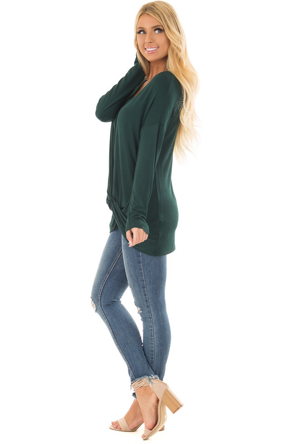 Hunter Green V Neck Top with Front Twist side full body