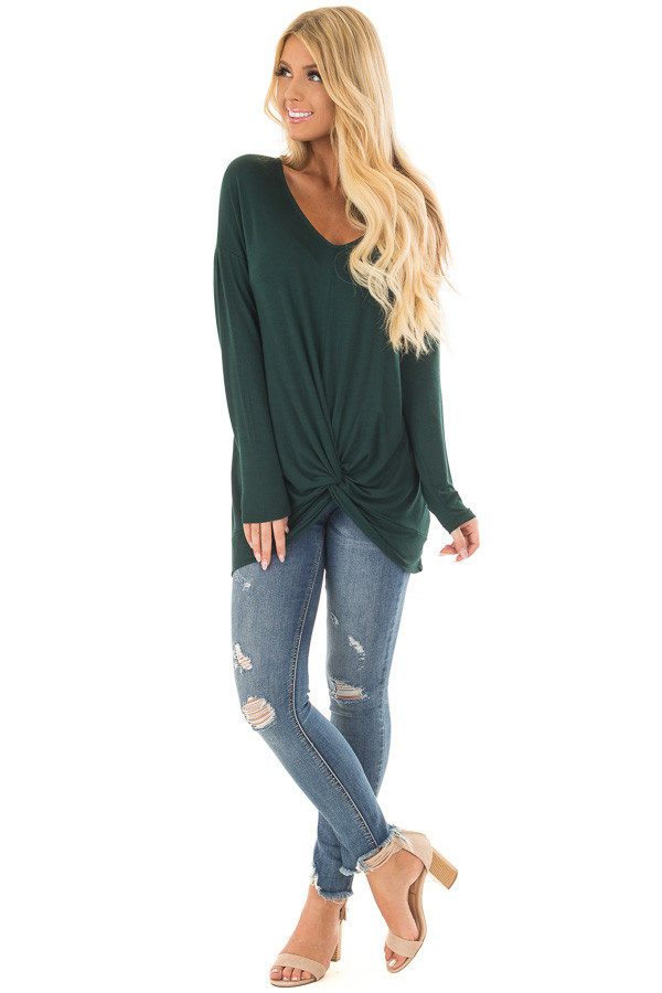 Hunter Green V Neck Top with Front Twist front full body