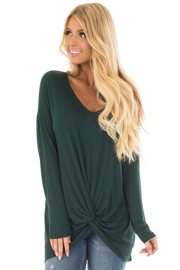 Hunter Green V Neck Top with Front Twist front closeup