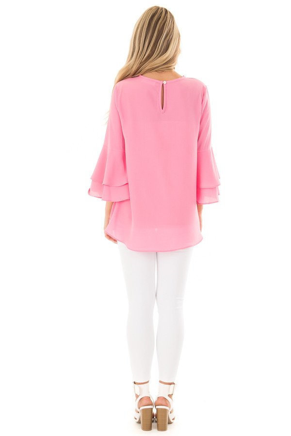Bright Pink Top with Long Tiered Bell Sleeves back full body