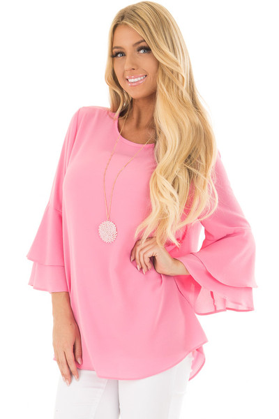 Bright Pink Top with Long Tiered Bell Sleeves front closeup