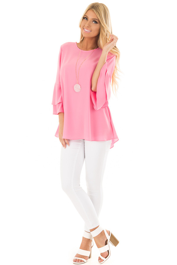 Bright Pink Top with Long Tiered Bell Sleeves front full body