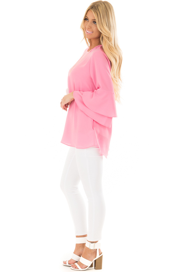 Bright Pink Top with Long Tiered Bell Sleeves side full body