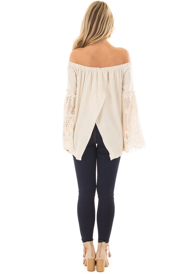 Natural Off the Shoulder Top with Sheer Lace Flare Sleeves back full body