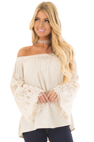 Natural Off the Shoulder Top with Sheer Lace Flare Sleeves front closeup
