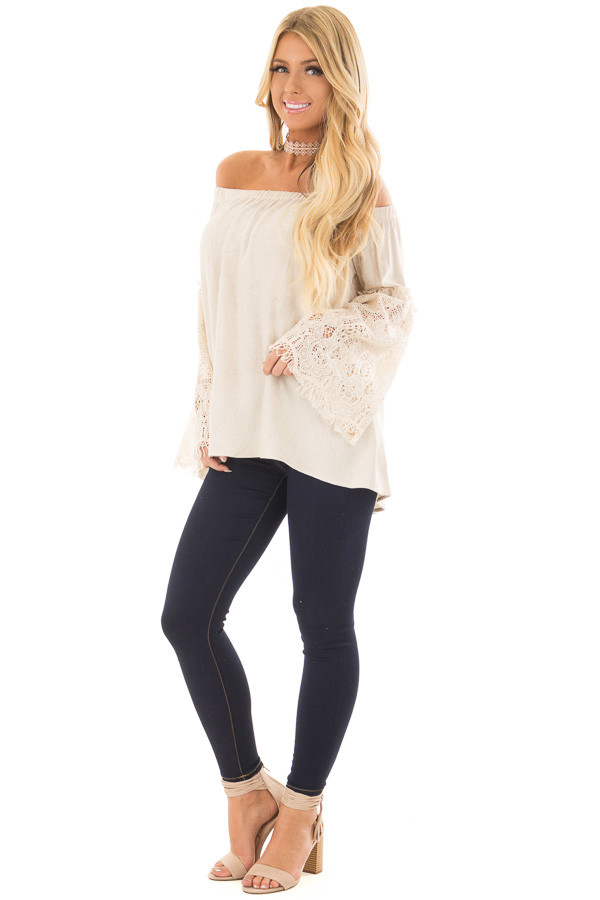 Natural Off the Shoulder Top with Sheer Lace Flare Sleeves front full body