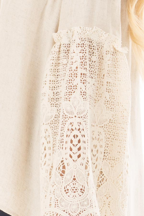 Natural Off the Shoulder Top with Sheer Lace Flare Sleeves side detail