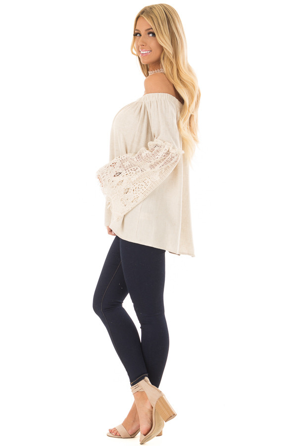 Natural Off the Shoulder Top with Sheer Lace Flare Sleeves side full body