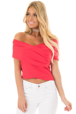 Lipstick Red Wrap Style Off the Shoulder Crop Top front closeup
