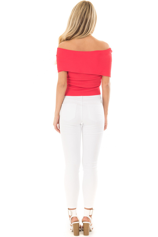 Lipstick Red Wrap Style Off the Shoulder Crop Top back full body