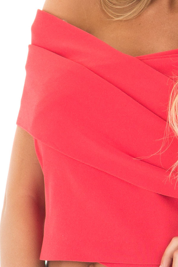 Lipstick Red Wrap Style Off the Shoulder Crop Top front detail