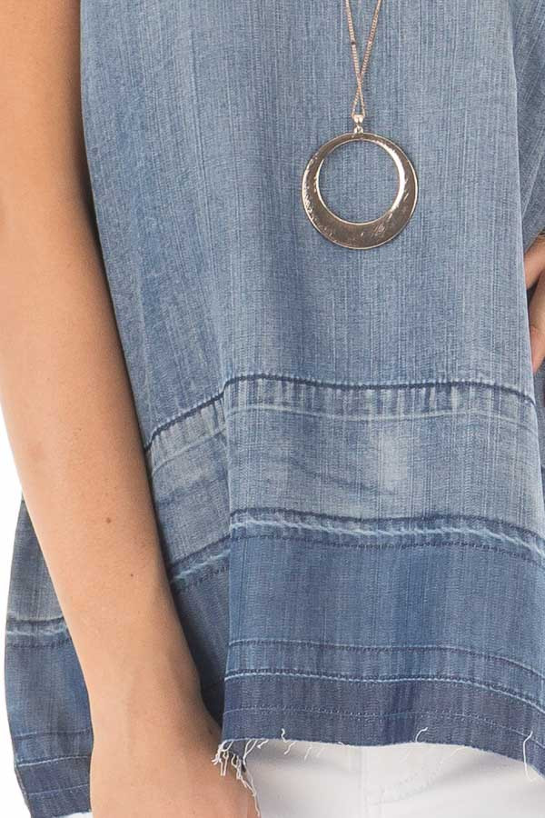 Denim Tank Top with Creased Hemline front detail