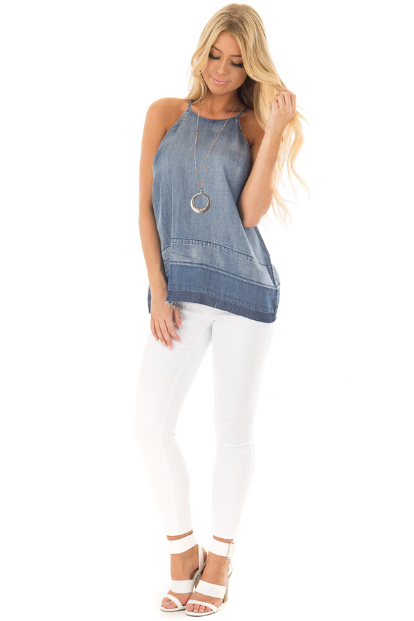 Denim Tank Top with Creased Hemline front full body