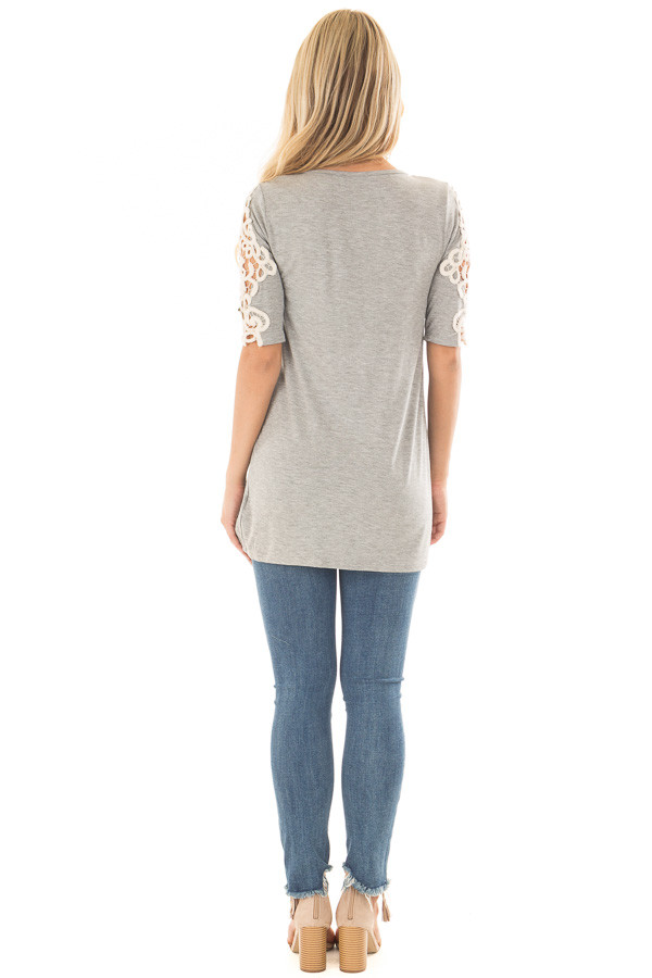 Heather Grey Top with Sheer Lace Sleeve Detail back full body