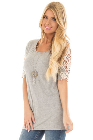 Heather Grey Top with Sheer Lace Sleeve Detail front closeup