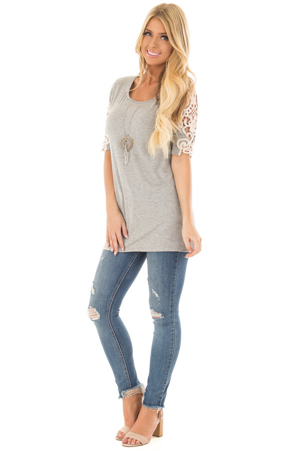 Heather Grey Top with Sheer Lace Sleeve Detail front full body