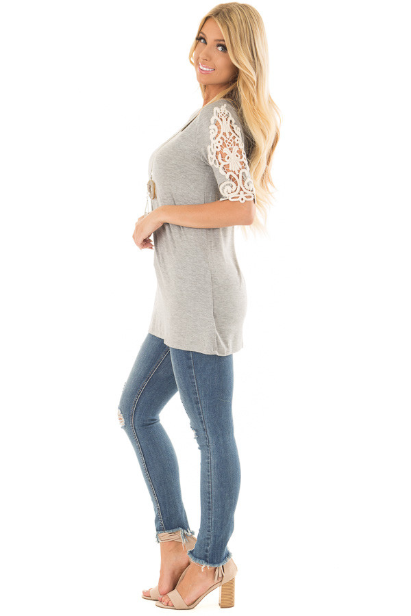Heather Grey Top with Sheer Lace Sleeve Detail side full body
