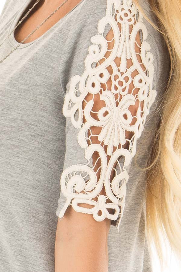 Heather Grey Top with Sheer Lace Sleeve Detail side detail