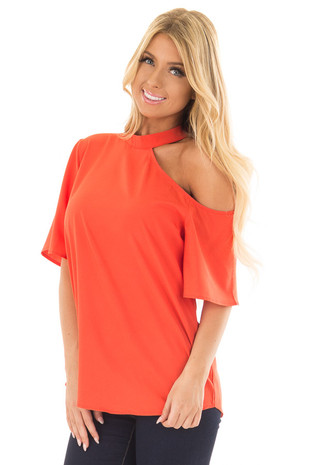 Tomato Red Cut Out Bare Shoulder Blouse front closeup