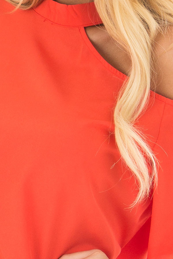 Tomato Red Cut Out Bare Shoulder Blouse front detail