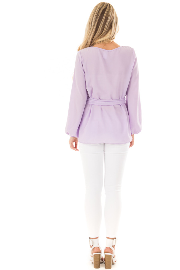 Lilac Top with Waist Tie Detail back full body