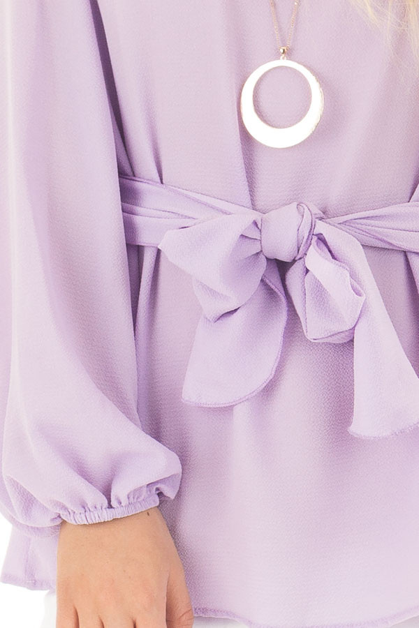 Lilac Top with Waist Tie Detail front detail