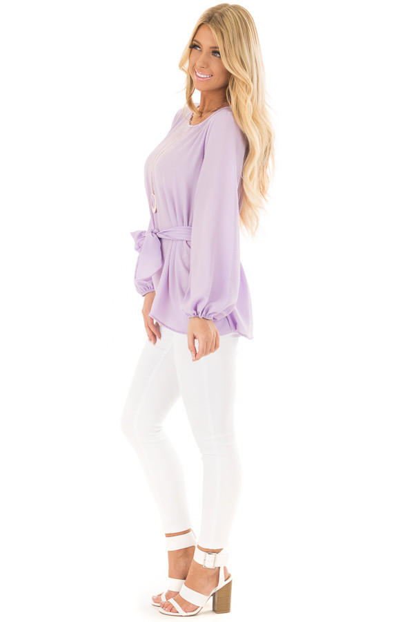 Lilac Top with Waist Tie Detail side full body