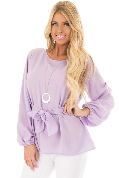 Lilac Top with Waist Tie Detail front closeup