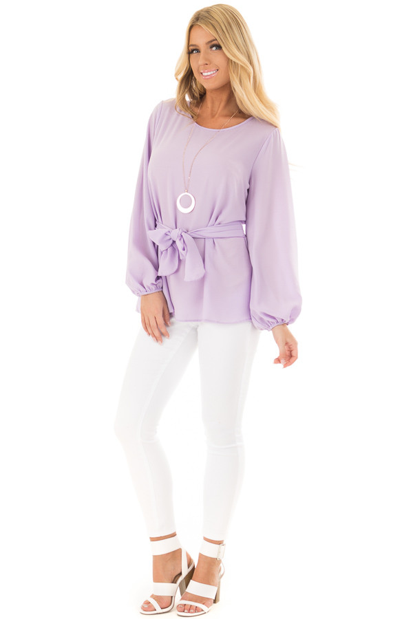Lilac Top with Waist Tie Detail front full body