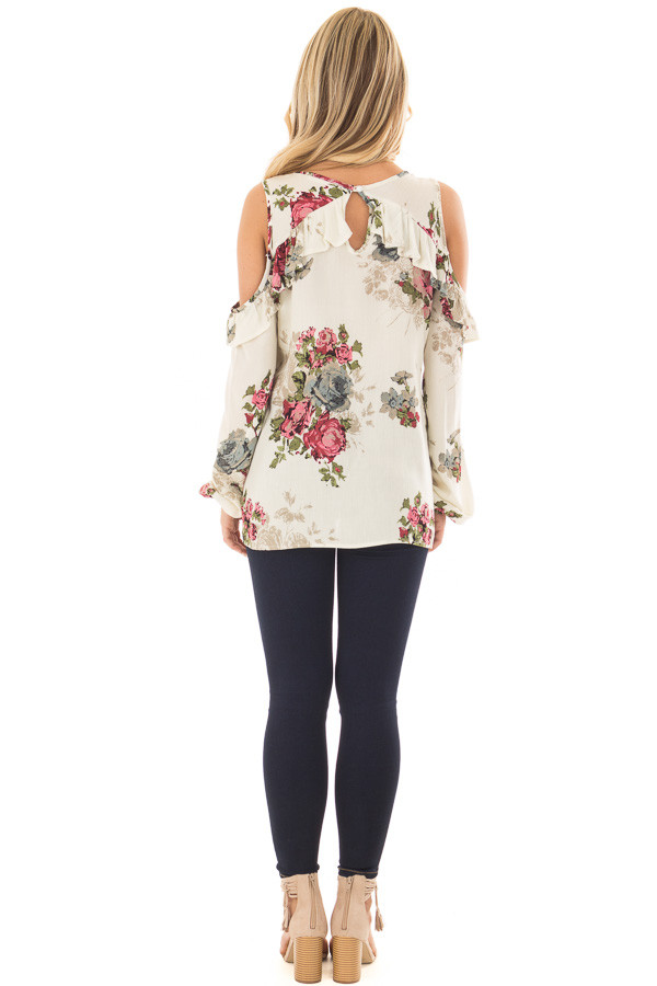 Cream Ruffle Cold Shoulder Top with Floral Print Detail back full body