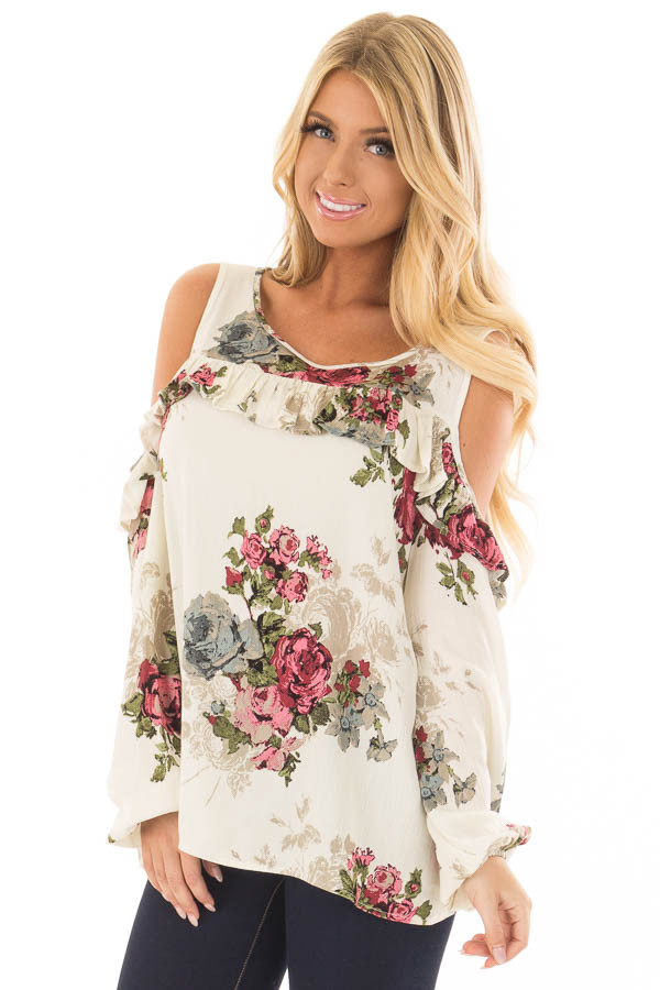 Cream Ruffle Cold Shoulder Top with Floral Print Detail front closeup
