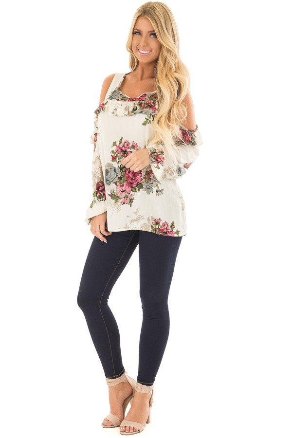 Cream Ruffle Cold Shoulder Top with Floral Print Detail front full body