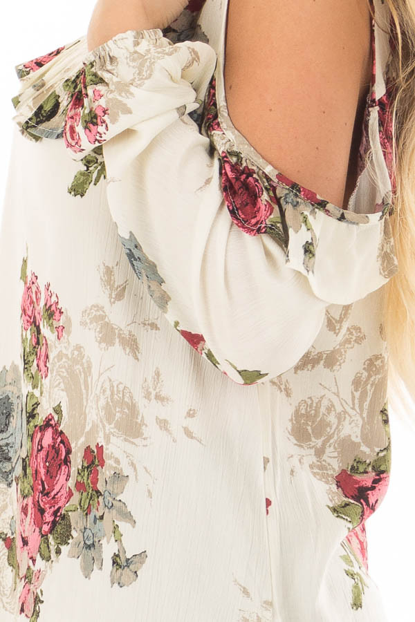 Cream Ruffle Cold Shoulder Top with Floral Print Detail side detail