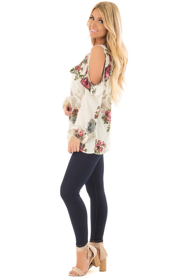 Cream Ruffle Cold Shoulder Top with Floral Print Detail side full body