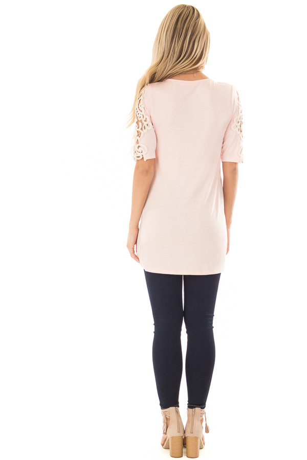 Light Pink Top with Sheer Lace Sleeve Detail back full body