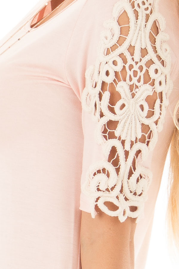 Light Pink Top with Sheer Lace Sleeve Detail side detail