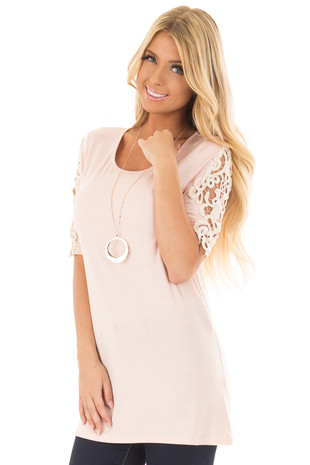 Light Pink Top with Sheer Lace Sleeve Detail front closeup