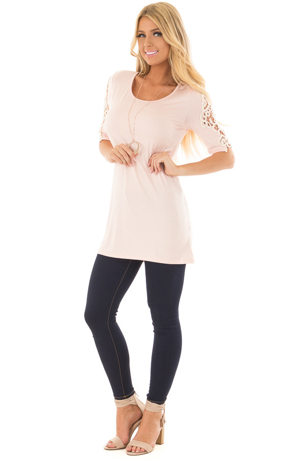 Light Pink Top with Sheer Lace Sleeve Detail front full body