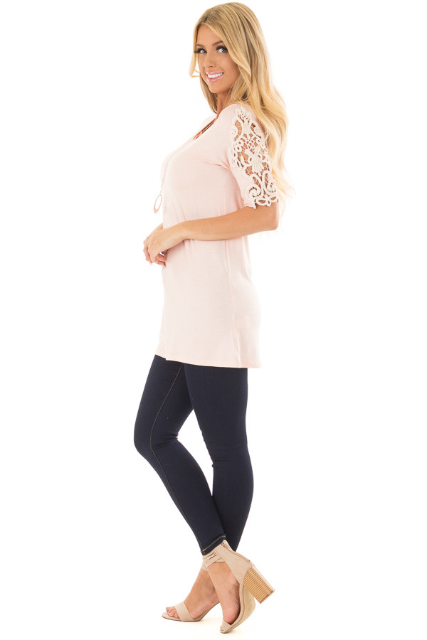 Light Pink Top with Sheer Lace Sleeve Detail side full body